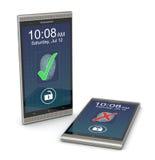 Fingerabdruckleser auf einem Smartphone Stockbilder