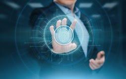 Fingerabdruckscan bietet Sicherheitszugang mit Biometrieidentifizierung Geschäfts-Technologie-Sicherheits-Internet-Konzept lizenzfreies stockbild
