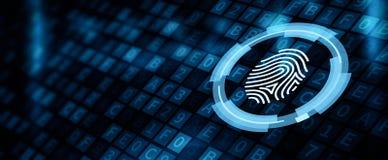 Fingerabdruckscan-Sicherheitszugang mit Biometrieidentifizierung stockbild