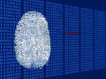 Fingeravtryck framme av binär bakgrund Royaltyfria Foton