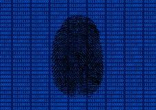 Fingeravtryck framme av binär bakgrund Royaltyfri Bild