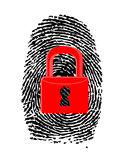 Fingeravtryck med det stängda röda u-låset Royaltyfri Bild