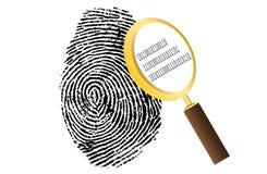 Fingeravtryck med förstoringsglaset och säkerhet för binär kod Arkivbild