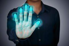 Fingeravtryck som scaning Arkivbild