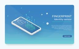 Fingeravtryckbildläsare på telefonskärmen vektor illustrationer