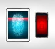 Fingeravtrycket låser scanning på minnestavlan upp och ilar telefonen Royaltyfria Foton