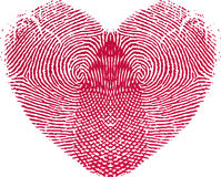 Fingeravtryckförälskelsehjärta Royaltyfria Bilder