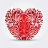 Fingeravtryckhjärta Arkivbild