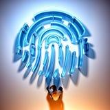 Fingeravtrycksäkerhetsen hacker vektor illustrationer