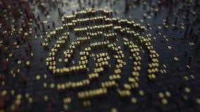 Fingeravtrycktecken som göras av fluktuerande guld- nummer Digital identitet, electonic legitimation eller personliga databegrepp royaltyfria bilder