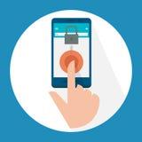 Fingerbildläsning på den mobila skärmen royaltyfri illustrationer