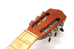 Fingerboard of old guitar on white Royalty Free Stock Image