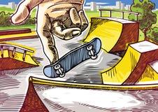 Fingerboarding. Finger skateboarding. 360' one-foot jump on the skatepark ramp Royalty Free Stock Images
