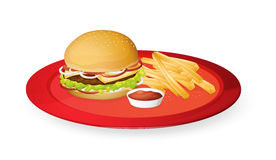 Fingerchips and burger. Illustration of fingerchips and burger in a red dish Royalty Free Stock Photo
