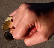 Fingercoins-potência do dinheiro imagem de stock royalty free