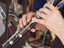 Fingered. Clarinet being played on stage Royalty Free Stock Image