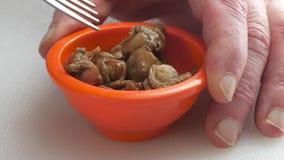 Fingeres de Man's alrededor de un cuenco que come conchas de peregrino ahumadas metrajes