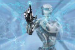 Fingeres de un robot que sostienen la tarjeta de crédito plástica con el microprocesador ilustración del vector