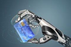 Fingeres de un robot que sostienen la tarjeta de crédito plástica con el microprocesador libre illustration