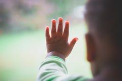 Fingeres del ` s del bebé en ventana Imagenes de archivo