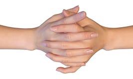 Fingeres entrelazados de una mujer Imagen de archivo libre de regalías