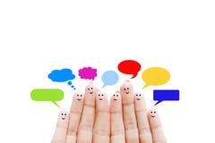 Fingeres humanos felices que sugieren concepto de la reacción y de la comunicación Fotografía de archivo