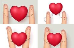 Fingeres y colección roja del corazón Imágenes de archivo libres de regalías