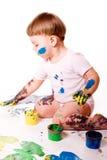 fingerflickamålning Arkivfoto