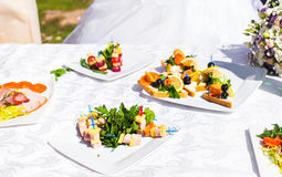 Fingerfood on appetizer table Stock Photos