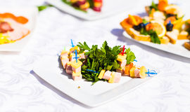 Fingerfood on appetizer table Royalty Free Stock Images