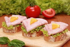 Fingerfood with ham Royalty Free Stock Photography