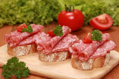 Fingerfood with salami and tomatos. Fingerfood topped with salami and tomatos royalty free stock images