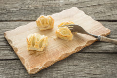 Fingerfood with salmon in flaky pastry Stock Images
