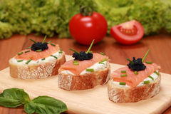 Fingerfood with smoked salmon Stock Photos
