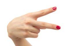 Fingerfrieden der Hand zwei oder Sieg symbo Stockfotografie