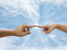 fingerhand som pekar två royaltyfri fotografi