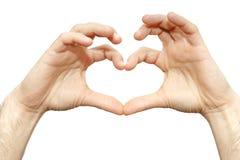 Fingerherz eines Mannhandgelenkes lokalisierte Liebeszeichen auf weißem Hintergrund Lizenzfreies Stockfoto