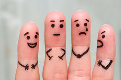 Fingerkonst av folk Begreppet av grupp människor med olika personligheter royaltyfri foto