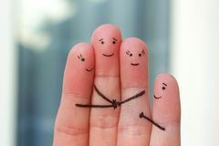Fingerkunst der Familie der Liebe, Freundschaft, Glück stockbilder