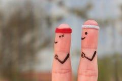 Fingerkunst eines glücklichen Paars im Sport Stockfoto