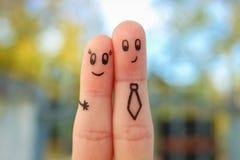 Fingerkunst von Paaren Konzept des Büros Romanze stockfotos