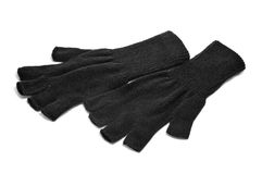 Fingerless gloves. A pair of black fingerless gloves on a white background Stock Images