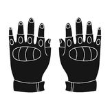 Fingerless gloves icon in black style isolated on white background. Paintball symbol stock vector illustration. Fingerless gloves icon in black design isolated Stock Images