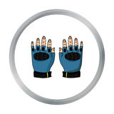 Fingerless gloves icon in cartoon style isolated on white background. Paintball symbol stock vector illustration. Stock Image