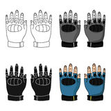 Fingerless gloves icon in cartoon style isolated on white background. Paintball symbol stock vector illustration. Royalty Free Stock Images