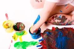 fingermålning Fotografering för Bildbyråer