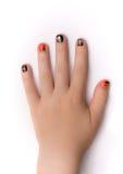 Fingernaglar som artistically målas för Hwlloween Royaltyfri Foto