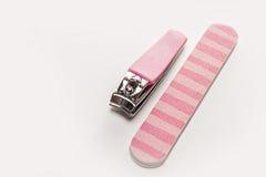 Fingernail clipper and nail file Royalty Free Stock Image