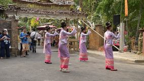 Fingernail Dance. CHIANGMAI, NORTH THAILAND - APRIL 14 2014:Fingernail Dance Chiangmai Songkran Inheritance at Wat Changkum Wiang Kam Saraphi District Chiangmai stock video footage