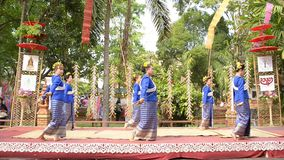 Fingernail dance in chiangmai Thailand. CHIANGMAI THAILAND APRIL 14 : 2014:Fingernail Dance Chiangmai Songkran Inheritance at Wat Changkum Wiang Kam Saraphi stock footage